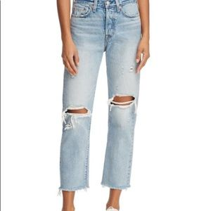 Levi's wedgie straight destroyed jeans size 25
